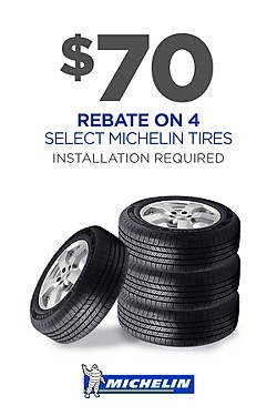 Get $70 rebate on 4 featured Michelin tires.