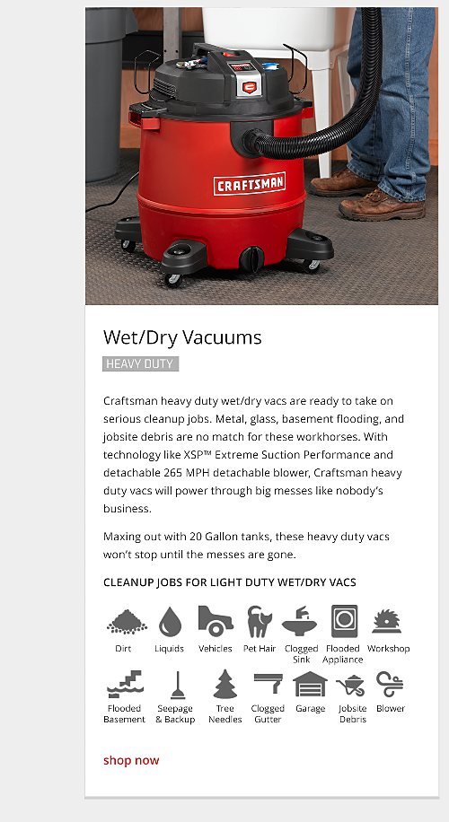 heavy duty wet/dry vacuum