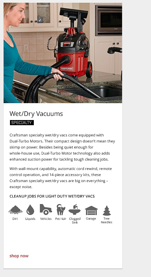 specialty wet/dry vacuum