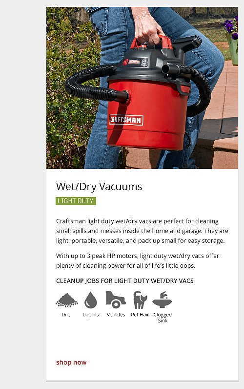 light duty wet/dry vacuum