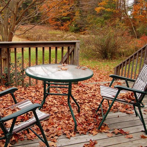 Patio furniture covered in leaves