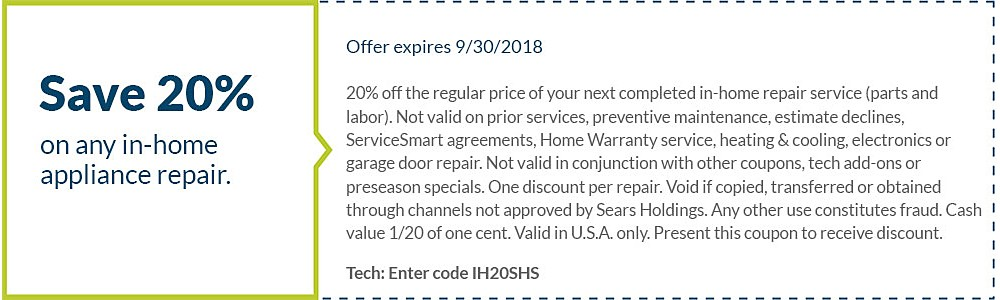 Sears Home Services Coupon Codes 8 Coupons You can count on Sears providing the services that you need when you need them simply because the entire Sears team is in your neighborhood.