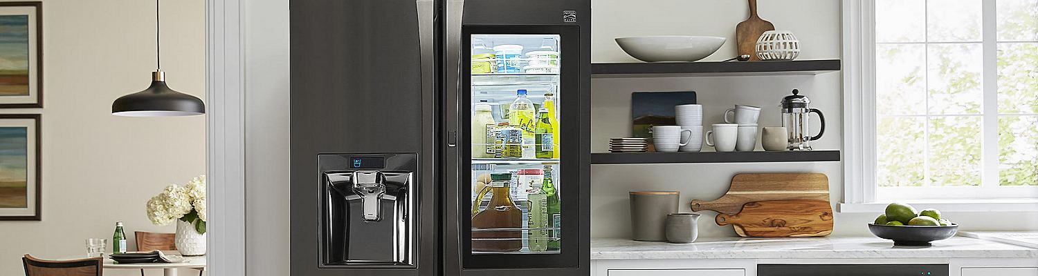 The Kenmore Elite refrigerator with a preview door