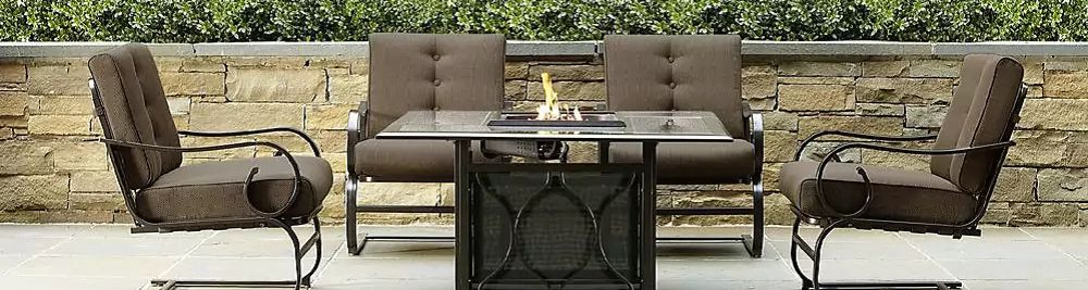 Patio seating set around fire table
