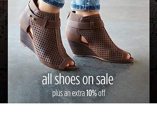 All shoes on sale + extra 10% off