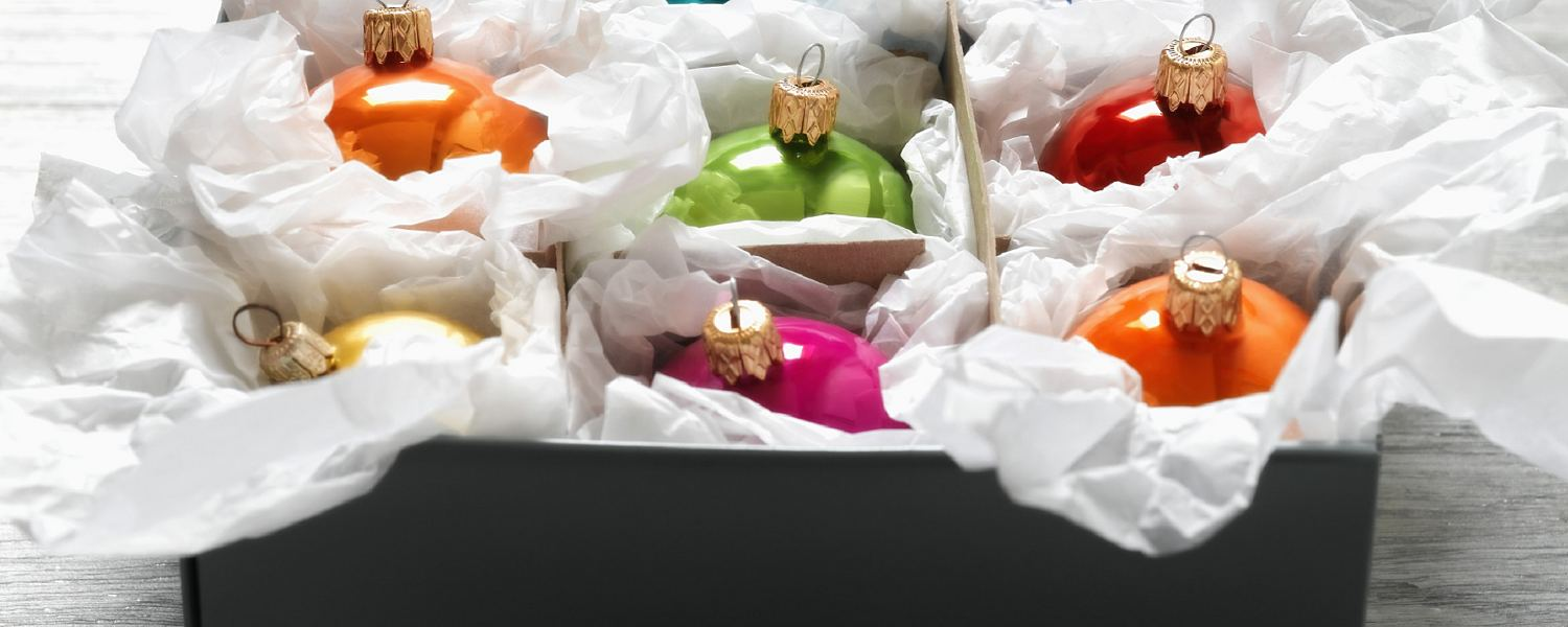 Packing Christmas ornaments