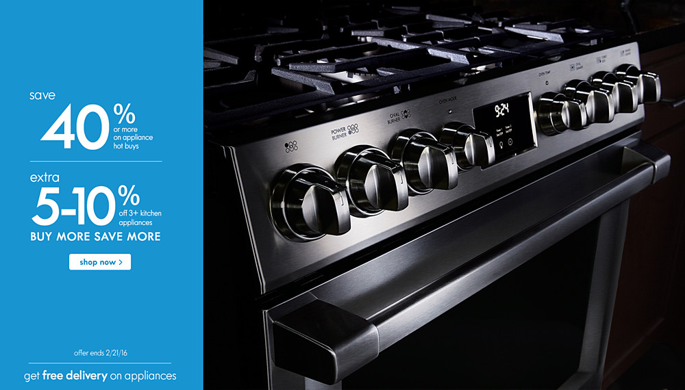 Save 40% or more on appliance hot buys | BUY MORE SAVE MORE extra 5-10% of 3+ kitchen appliances