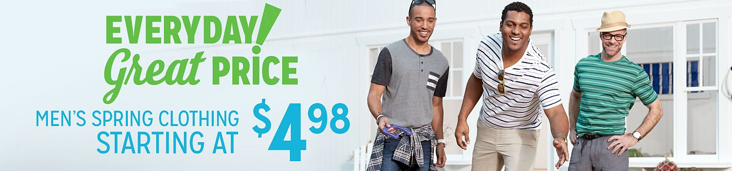 Men's clothing starting at $4.98