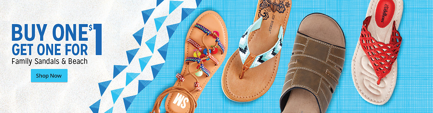 Buy one pair, get one for $1 family sandals & beach