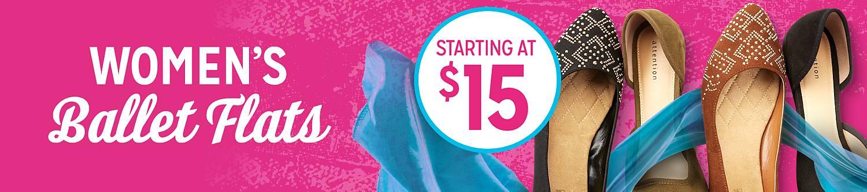 Womens ballet flats starting at $15