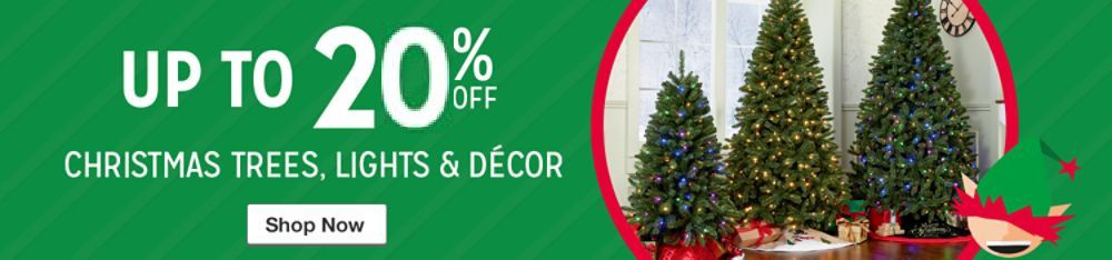 Up to 20% off Christmas Trees, Lights & Décor