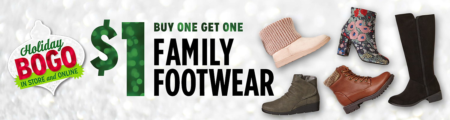 Buy one pair, get one for $1 on footwear for the family