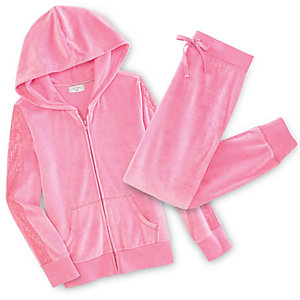 Velour hoodies & pants for girls, just $10