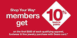 Shop Your Way members get 10% back in points