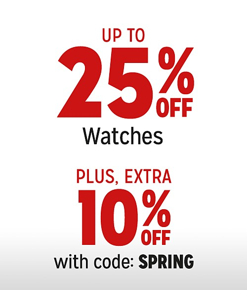 Up to 25% Off Watches + Extra 10% Off with Code: SPRING