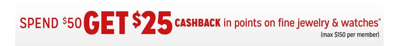 Spend $50 Get $25 CASHBACK in Points
