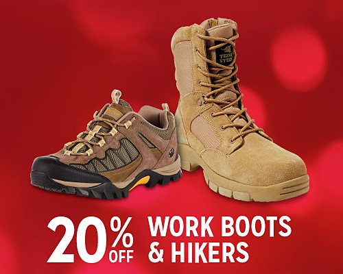 20% off work boots & hikers