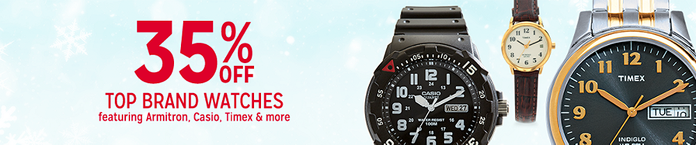 35% off top brand watches featuring Armitron, Casio, Timex & more