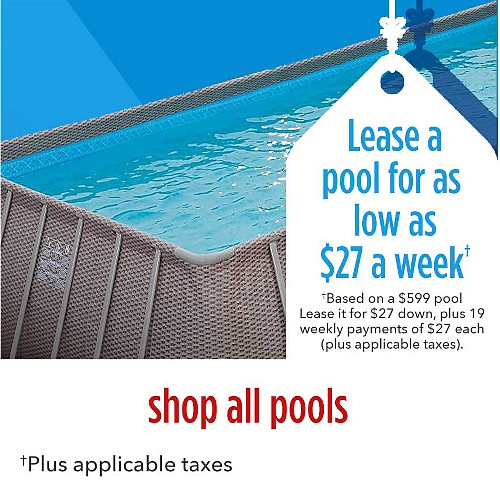 Lease a pool for as low as $27 a week | Based on a $599 pool Lease it for $27 down, plus 19 weekly payments | shop all pools