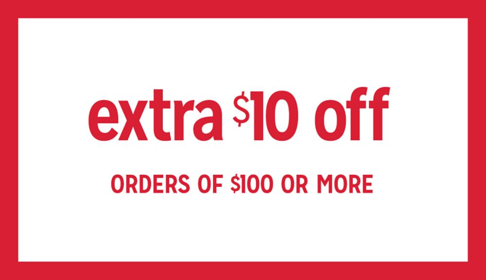 extra $10 off $100