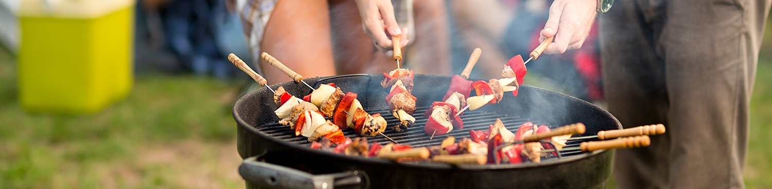 kabobs on a charcoal grill