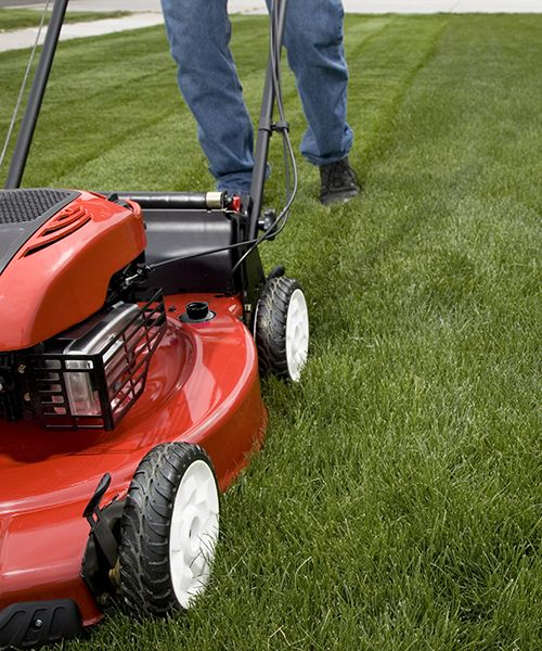 mowing lawn evenly