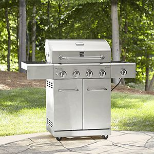 Kenmore 4-Burner Gas Stainless Steel Grill with Searing Side Burner