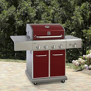 Kenmore 4-Burner LP Red Gas Grill With Searing Side Burner