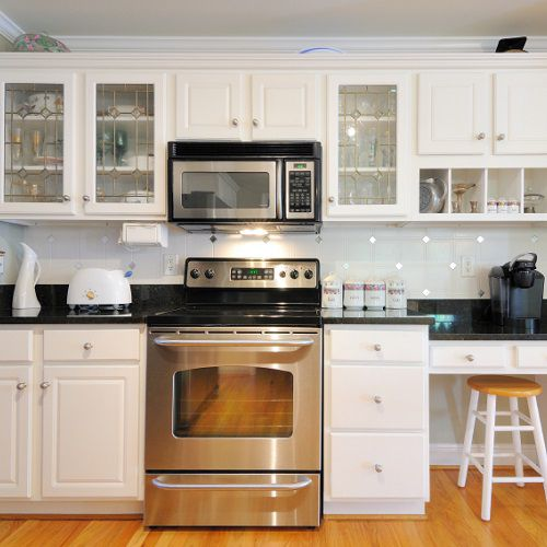 Kitchen cabinets with clear doors