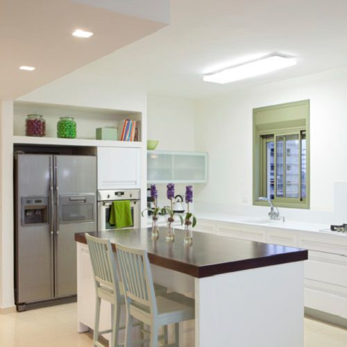 Kitchen with white walls