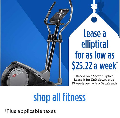 Lease an elliptical for as low as $25.22 a week | Based on a $599 elliptical Lease it for $60 down, plus 19 weekly payments, plus applicable taxes | shop all tractors