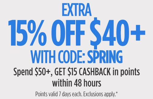eed1d1b44be Extra 15% off  40+ with code  SPRING Spend  50+