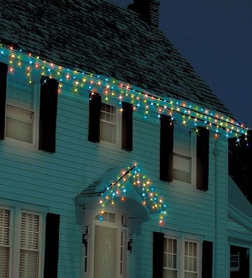 Colorful icicle lights on a house