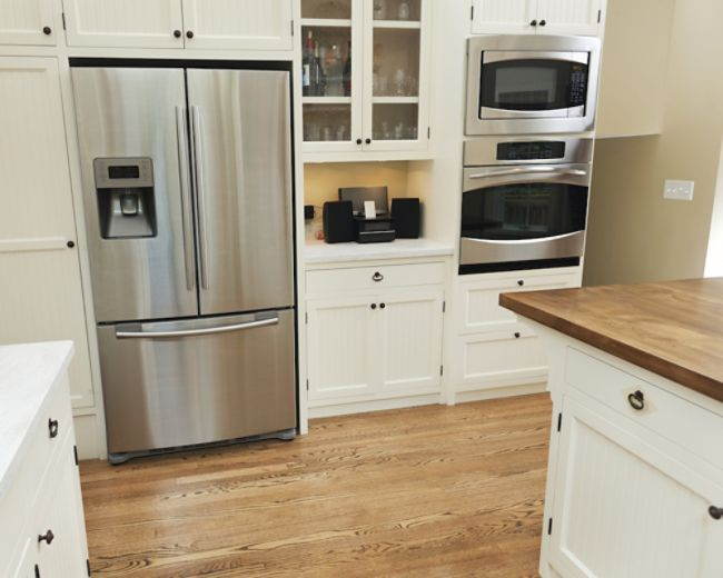 A stainless steel refrigerator