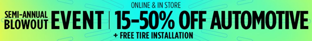 15–50% off automotive + FREE tire installation