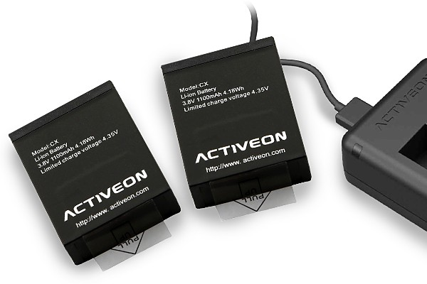 Activeon action camera rechargeable batteries and dual battery charger