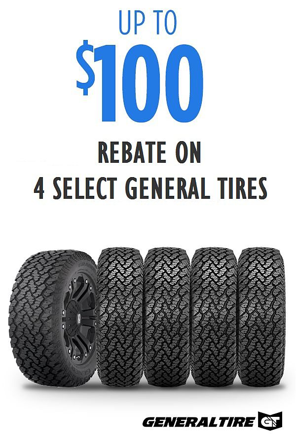 Up to $100 on 4 select General Tires.