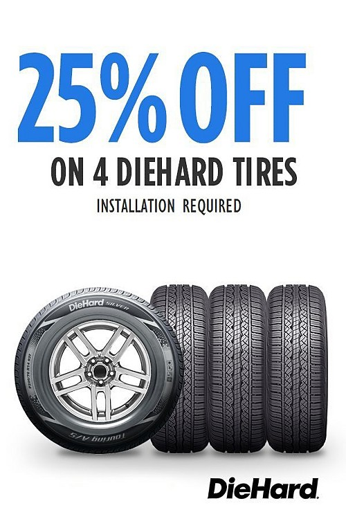 25% off DieHard tires. Online only pricing.