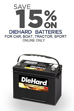 Online Only! Total 15% off DieHard batteries for car, boat, tractor and power sport