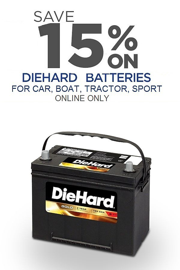 15% off DieHard Batteries. Online Only.