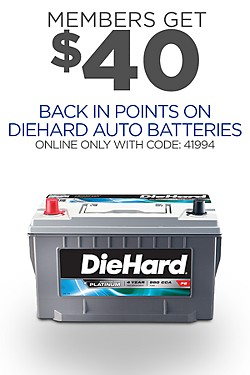 $40 back in points on DieHard Auto Batteries with code