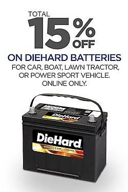 Save! Total 15% off DieHard Batteries!