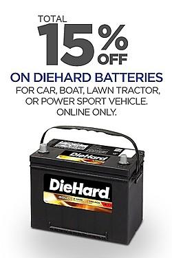 Save! Total 15% off DieHard Batteries!