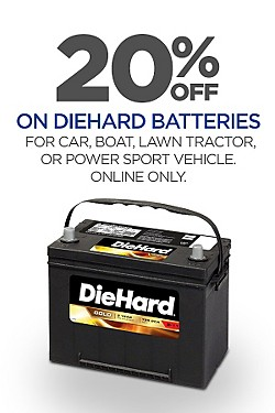 Online Only! Total 20% off DieHard batteries for car, boat, tractor and power sport