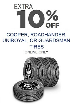 Extra 10% off Cooper, RoadHandler, Uniroyal or Guardsman tires