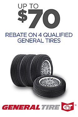 General Tires - Up to $70 rebate on 4
