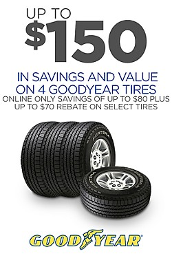 Goodyear - Up to $70 off on 4 + Rebate