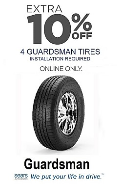 Extra 10% off 4 Guardsman tires. Installation required. Online Only! Discount reflected in price shown.