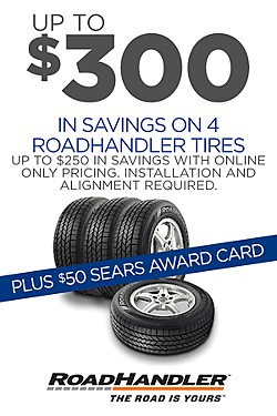 Up to $300 savings on 4 RoadHandler tires