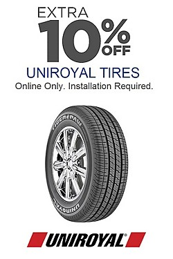 Online Only! Extra 10% off Uniroyal Tires. Installation required. Discount reflected in price shown.